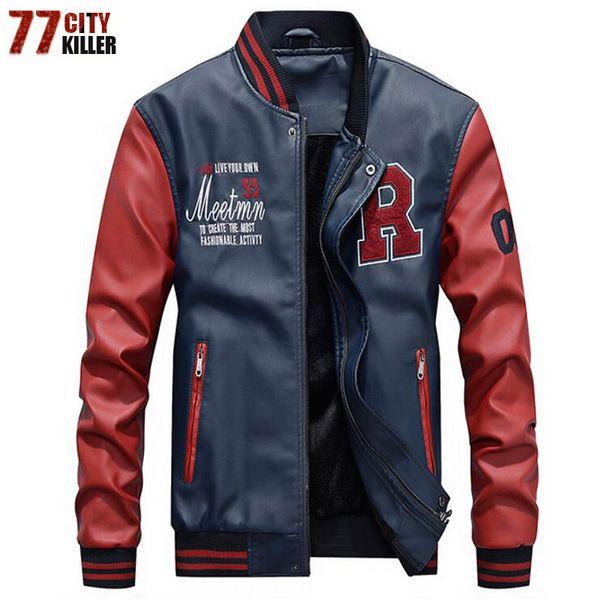 Nuova 2019 di marca del ricamo di baseball Giacche Uomo Pu Faux Leather Jacket maschile di lusso casual Fleece Pilot Lettera stand Bomber Coat LY191210