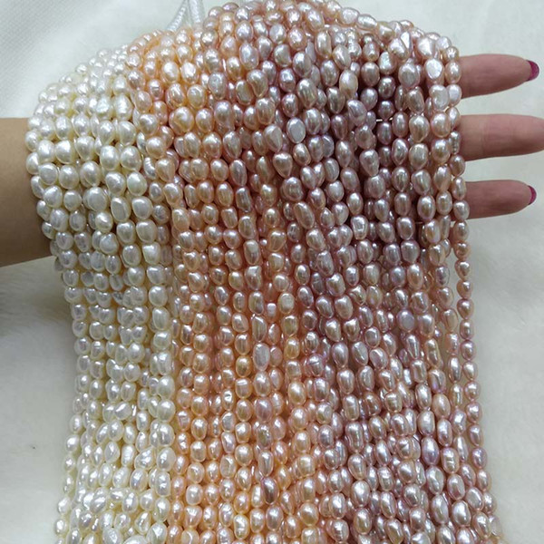 JNMM Natural Freshwater Pearl Beads High Quality 38cm Punch Loose Beads for DIY Women Necklace Bracelet Jewelry Making 3 Colors Size 7-8mm
