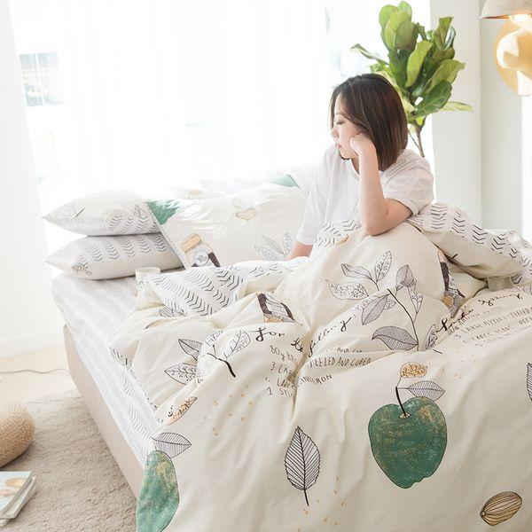 100% coton ensembles de literie vert pomme impression top qualité drap de lit housse de couette taie d'oreiller maison reine roi taille textile de la maison