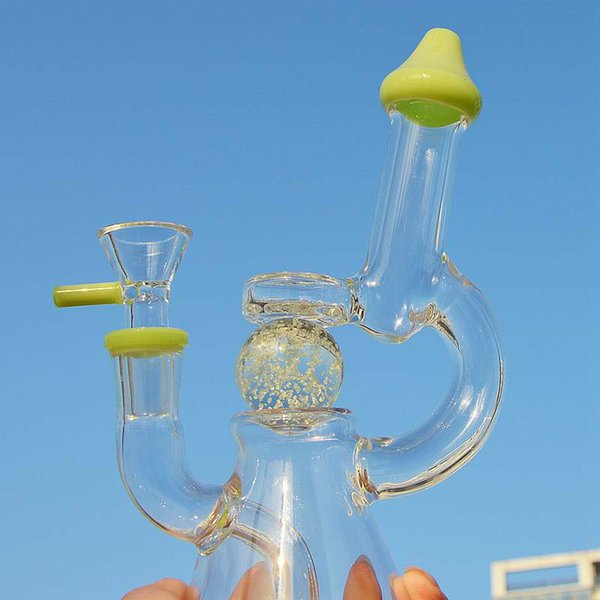 Unique Glass Bongs Glow In The Dark Ball Beaker Bong Glass Water Pipes Mini Oil Rig Green Purple Dab Rigs With Bowl XL-341