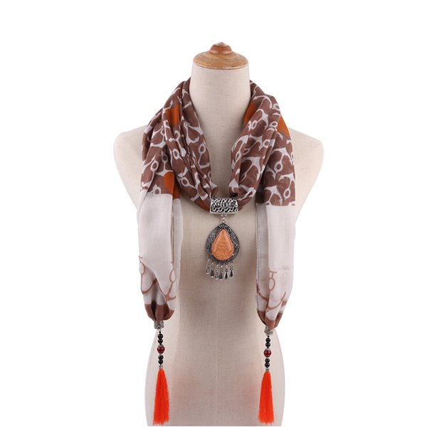 LaMaxPa 2019 Women Jewelry Pendants Water Droplets Cotton Scarf Long Tassel Wrap Soft Necklace Female Foulard Accessories
