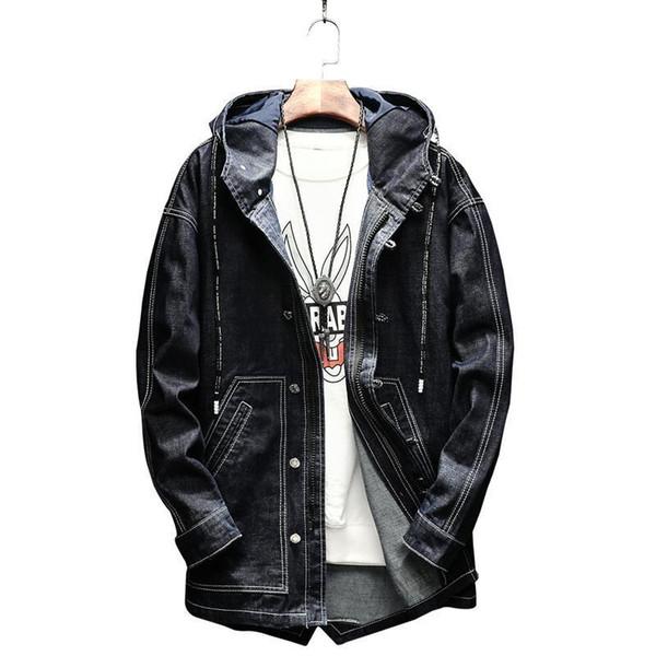 Nice New Long Denim Jacket Men Holes Mens Jean Jackets Men Garment Washed Mens Coat 4xl 4xl