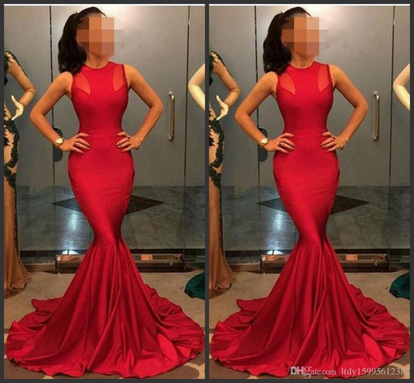 2019 New Evening Gowns Sexy Jewel Sleeveless Sheath Mermaid Formal Red Carpet Prom Dresses Custom Made Rose Red Party Dress 282