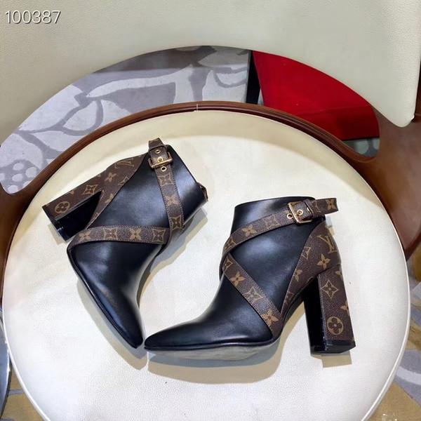 Botas de cuero de las mujeres de la moda de New1 calientes tacones altos primavera y otoño zapatos de las mujeres banquete tacones altos botines zapatos de moda cómodos