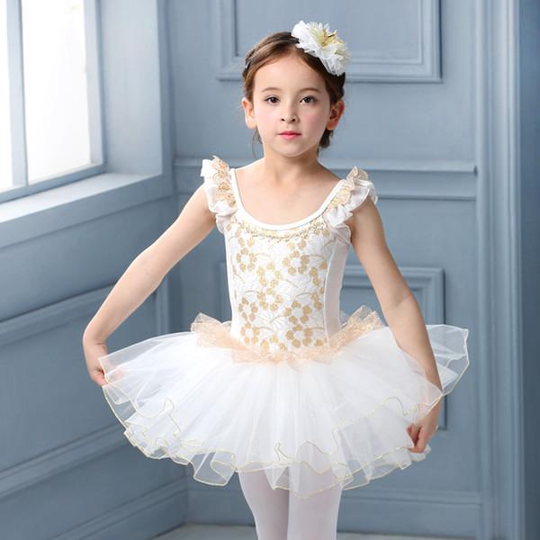 White Swan Lake Costume Short Sleeve Ballerina Clothes Children Kids Tutu Ballet Dress Lace Ballet Dancewear For Girls