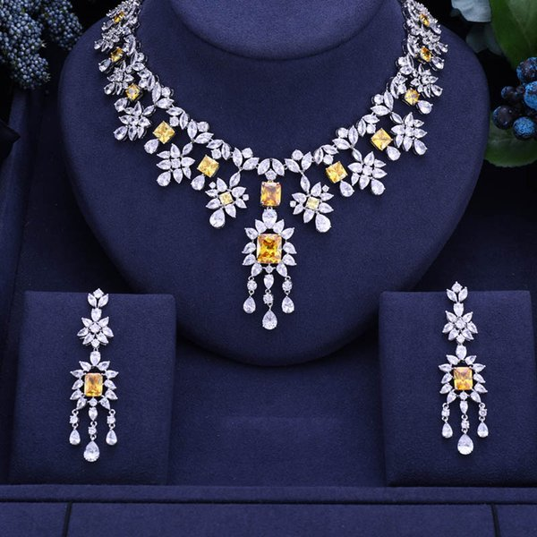 jankelly yellow African 2pc Bridal Jewelry Sets New Fashion Dubai Jewelry Set For Women Wedding Party Accessories Design