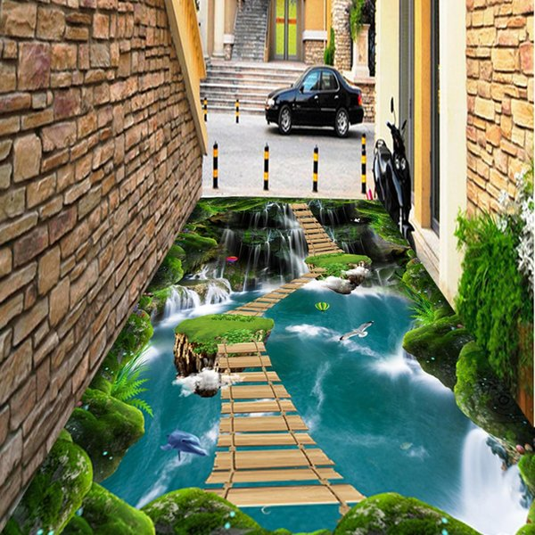 Self Adhesive 3d Wooden Board Bridge In Water 183 Floor Wallpaper Mural Wall Print Decal Wall Murals Colorful Wallpaper Colour Wallpapers From Hymen
