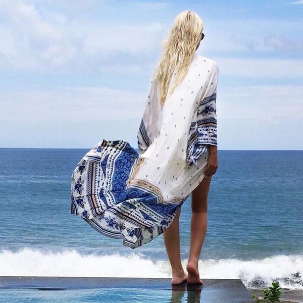 Chiffon Beach Coprire il costume da bagno Smock 06 Bikini Smock Protezione solare per le vacanze