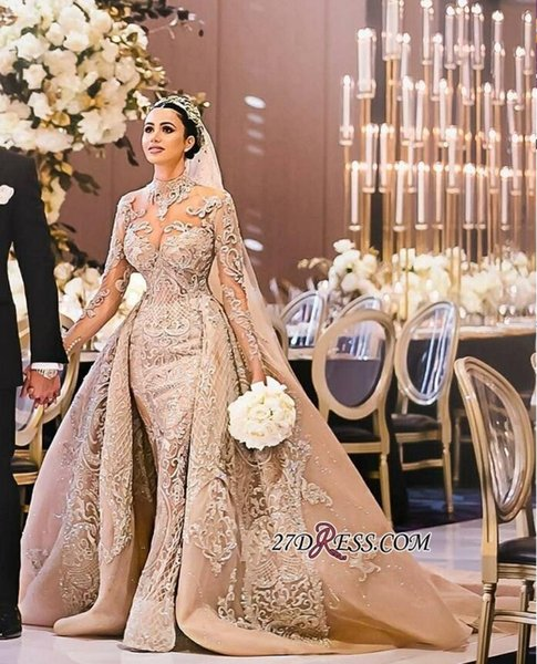 Discount New Mermaid Long Sleeves 2019 Champagne Wedding Dresses Appliques  Princess Bridal Gowns Plus Size Bridal Gowns Arabic Princess Line Wedding  ...
