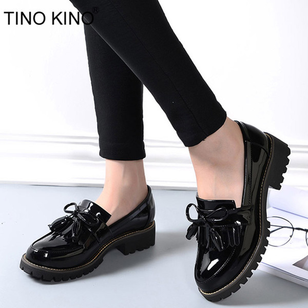 TINO KINO Femmes Glands Bowtie Printemps Derby Chaussures Femelle Plateforme De Mode En Cuir Verni Bas Talons Dames Slip Sur Chaussures
