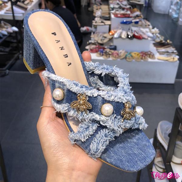 06b955806d7 Womens Denim Jeans Tassels Pearls Peep Toe Metal Bee Decor Block Heel  Slipper Slingback Mules New A165 Girls Boots Wedges Shoes From Xiexiezi,  $92.69| ...