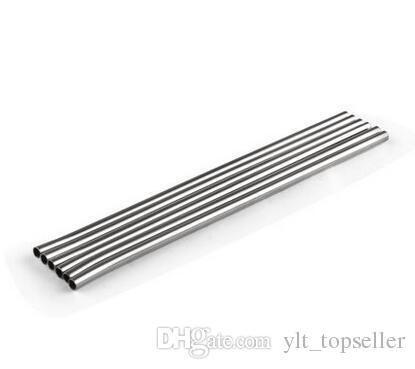 """top popular 100pcs Stainless Steel Straw Steel Drinking Straws 8.5"""" Reusable ECO Metal Drinking Straw Bar Drinks tool Cleaning brush DHL Free shipping 2021"""
