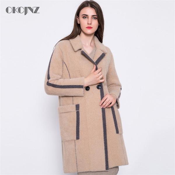 2018 Nuevo Otoño Invierno Abrigo de Lana Largo Moda Femenina Suelta Recta Mujer Abrigo de lana temperamento Grueso Prendas de Vestir Exteriores YY129