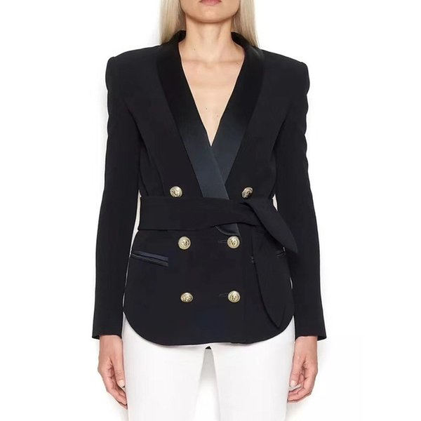 Newest fashion week 2019 Designer Blazer Jacket Women's Double Breasted Lion Buttons Lacing Belt Blazer Outer Wear