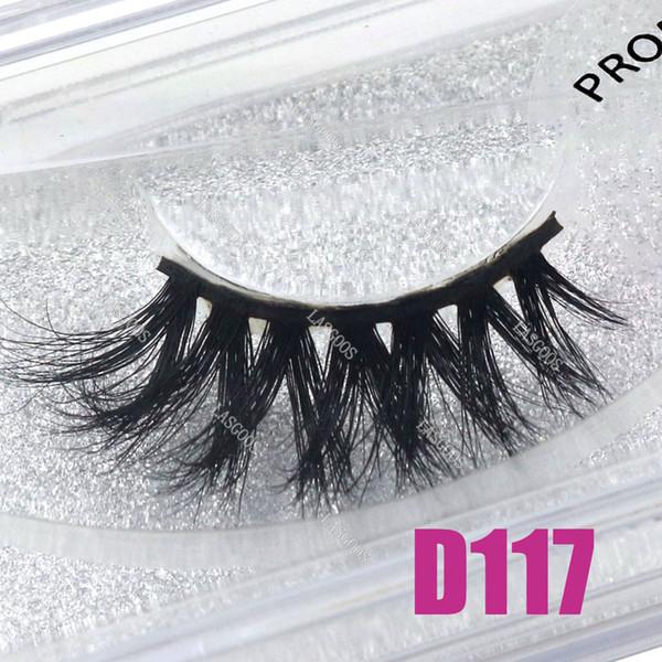 LASGOOS 1 Pair Boxed 100% Mink 3D Fluffy Crisscross Fake Lashes Eye Downy Deep V Volume 12mm False Eyelashes D117