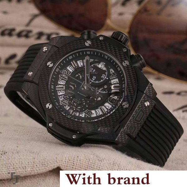 Designer Steel Case Black Bezel Skeleton Dial Miyota Quartz Chronograph Mens Watch Black Rubber Strap Sports Watches Stopwatch HB104d4