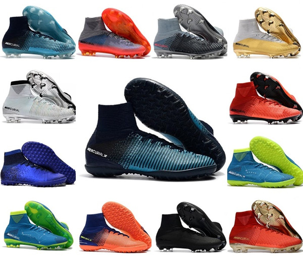 Nike plus récent Original Red Gold CR7 football football Crampons Mercurial Superfly V CR7 FG chaussures de football pour hommes Ronaldo Football des femmes