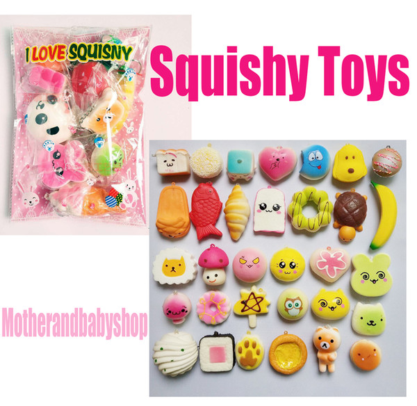Squishy Toys Slow Rising Squishy Rainbow Sweetmeats Ice Cream Cake Bread Strawberry Bread Charm Phone Straps Soft Fruit Toys Soft PU Toys