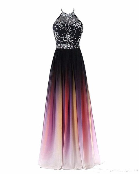 2019 Sexy Halter Gradient Prom Dresses With Long Chiffon Plus Size Ombre Evening Party Gowns Formal Party Gown 39 Transactions