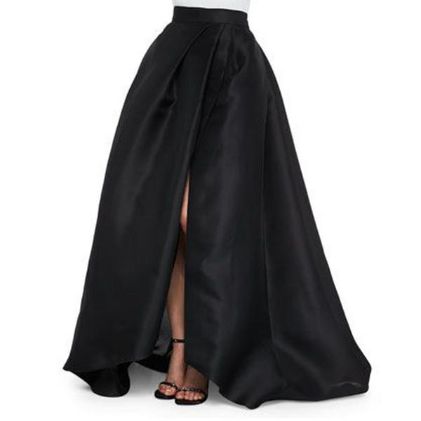 Sexy Black Satin Long Skirts New Design Side Split Chic Invisible Zipper Floor Length Skirts Fashion Women Maxi Saia Y1904002