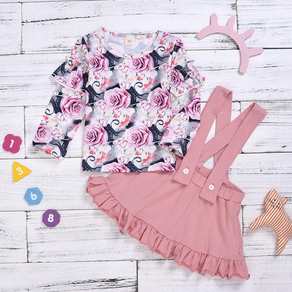 Bebek Kız Giyim Seti Bebek Moda Giyim Seti Bebek Çocuk Kız Çiçekler Çiçek Katı Askı Etek Dantelli Tops