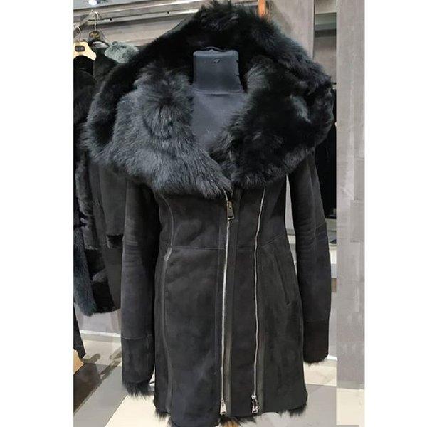 Женская куртка из короткой шерсти Турции Тоскана Женская зимняя теплая куртка с длинным мехом
