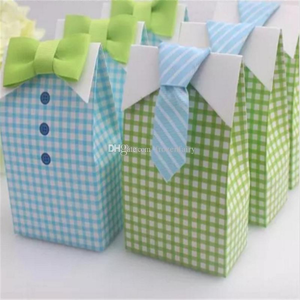 300 pcs My Little Man Blue Green Bow Tie Birthday Boy Baby Shower Favor Candy Treat Bag Wedding Favors Candy Box gift Bags a398--a401