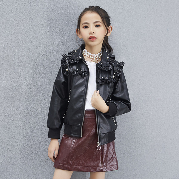Baby pu jacket girls zipper cool jacket leather 3-12 years old Korean leather children's girls baby clothing