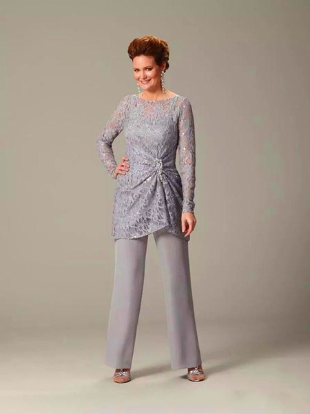 Silvery Gray Lace Mother Of The Bride Suits Long Sleeves Women Formal Evening Dresses Sequined Crystals Wedding Guest Dresses DH4037