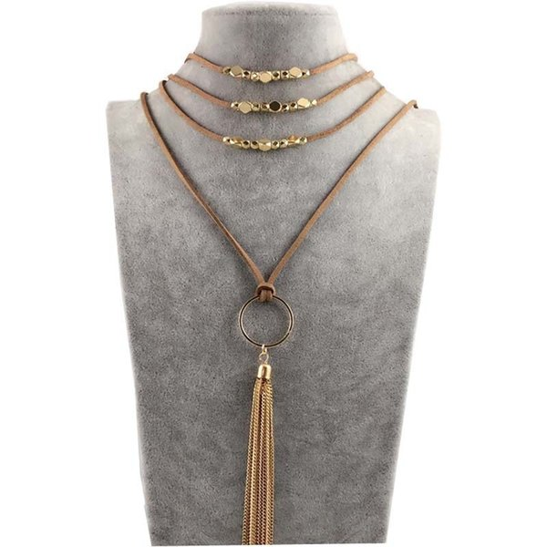 Alloy PU Leather Sweater Necklaces For Women Multi Layer Gothic Pendant Jewelry Fashion Long Tassel Necklace 7 7bz BB