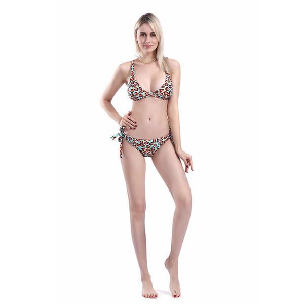 With Brief Split No Steel Support Women Sexy Leopard Print Two-piece Swimming Girls Polyester Bikini Set Holiday Beachwear