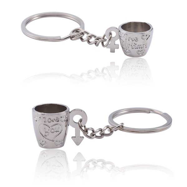 Trendy Couple Keychain Coffee Cup Key Chain Carved Heart I Love You Key Holders Birthday Gift Silver LOVE Heart Ring Jewelry