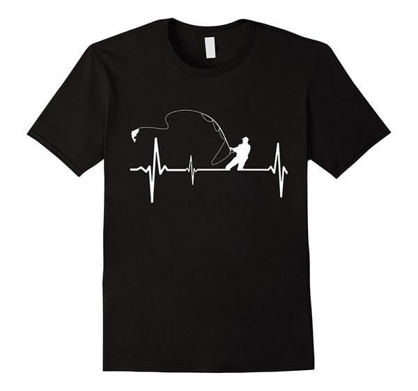 Balıkçı Heartbeat T-Shirt Mükemmel Hediye T Shirt Balıkçı% 100% Pamuk Kısa Kollu O-Boyun Üstleri Tee 2017 Yeni Marka