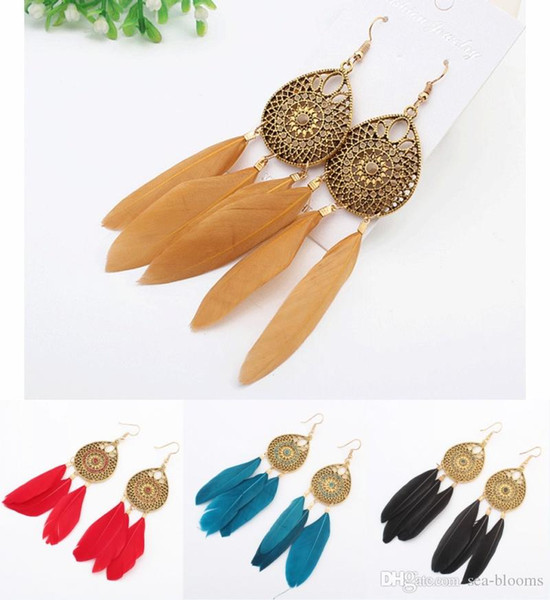 Boho Alloy Fishhook Eardrop Long Hollow Feather Earrings 4 Colors Round Pendant Tassel Earring for Women Party Jewelry Accessories H58R