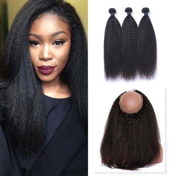 9a pre plucked brazilian kinky straight human hair weaves with 360 lace band frontal virgin human hair with bady hair 4pcs/lot