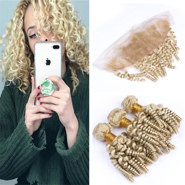 Platinum Blonde Funmi Curly Hair Frontal and Bundles #613 Virgin Peruvian Bouncy Spiral Curls Human Hair Weave with Frontal 13x4