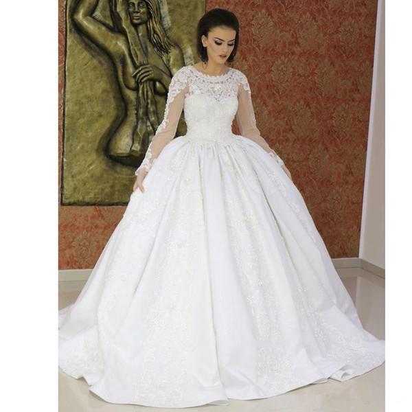 2019 Vintage Ball Gown Muslim Wedding Dresses Jewel Neck Appliques