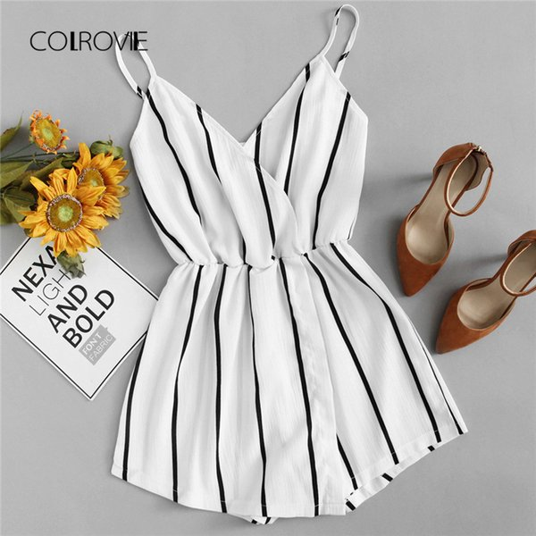 Colrovie Wrap Casual Vertical Striped Romper Summer V Neck Playsuit Mid Waist Women Rompers Strap Beach Short Jumpsuit Q190508