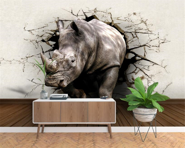 Custom wallpaper 3d mural nostalgic vintage broken wall out the rhinoceros stereo background walls 3d wallpaper