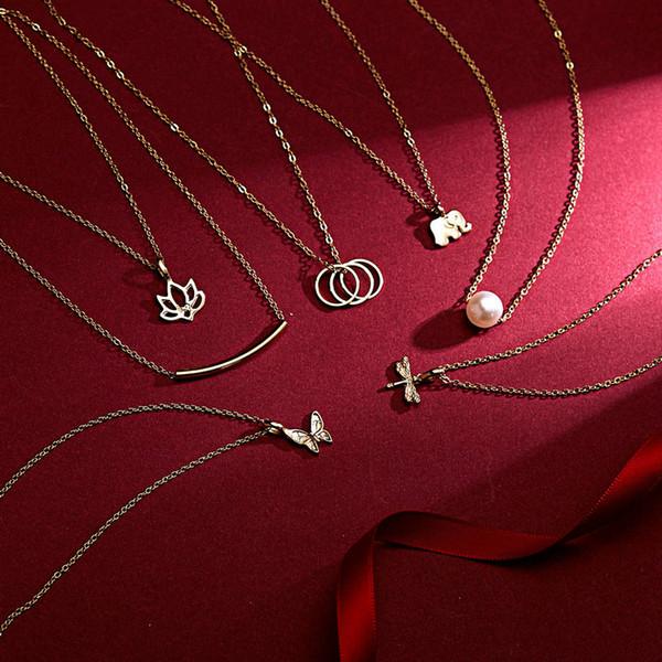 Desejo colares Dogeared com cartão do ouro coração pingente de colar Elephant Key Clover Horseshoe Triângulo encanto para presente da jóia mulheres Moda