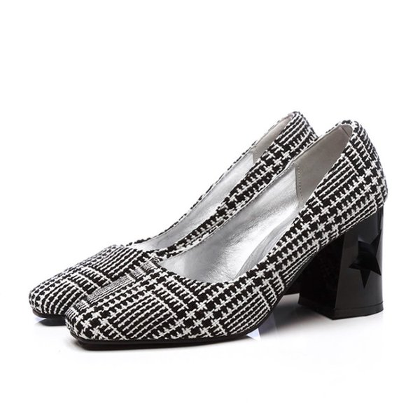 Favofans Hot Sale Womens Chunky High Heel Fabric Court Shoes Ladies Square Toes Casual Pump FF-S1028