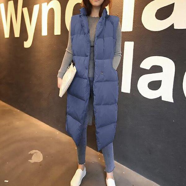 New winter thicken warm cotton down vest women single button loose version long sleeveless coat women veste femme DC422
