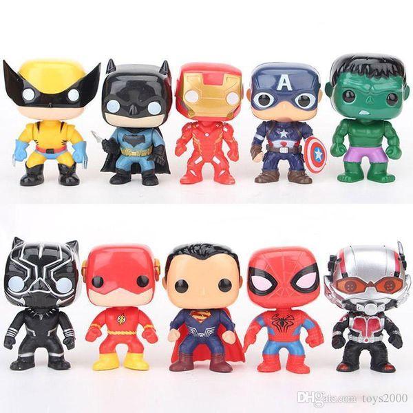 FUNKO POP 10 adet / takım DC Adalet aksiyon figürleri Ligi Marvel Avengers Süper Kahraman Karakterler Modeli Vinil Eylem Oyuncak Çocuklar için Rakamlar
