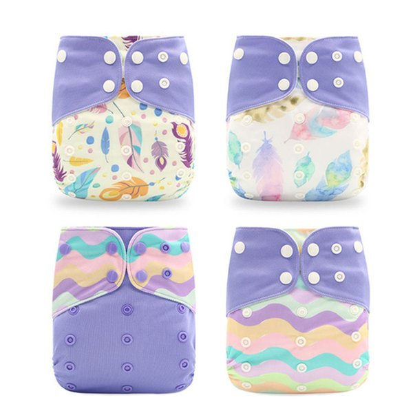 4pcs Baby Reusable Nappies Washable Polyester Cloth Diaper Suitable For Toddler Age 0-3 Years Old