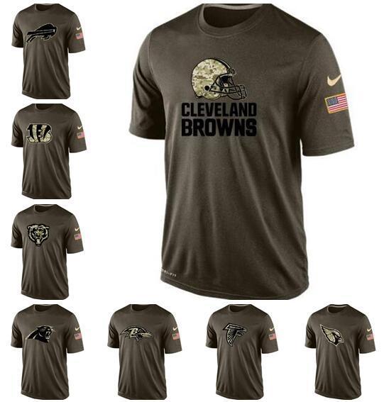 T-shirt New Style Buffalo Cleveland Cincinnati Chicago Carolina Atlanta Homens Ravens falcon pantera Bears Bengals Browns Salute ao serviço