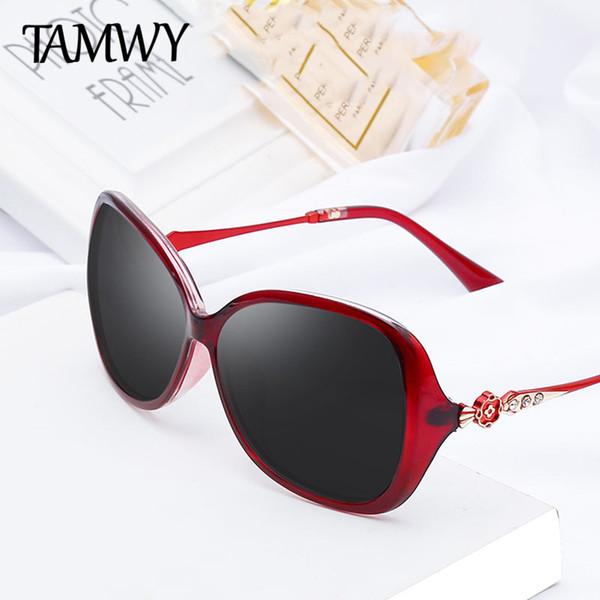 TAMWY MARKE DESIGN Luxus Frauen Polarisierte Sonnenbrille 2019 Dame sonnenbrille Weiblichen Strass Tempel Shades Eyewear UV400 T2218