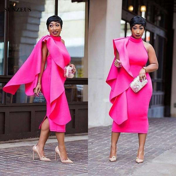 2019 Mantel Stehkragen Tee Länge Cocktailkleider Ärmellos Einzigartige Formale Kleider Mit Watteau Zug Einfache Elegante Frauen Party Kleid
