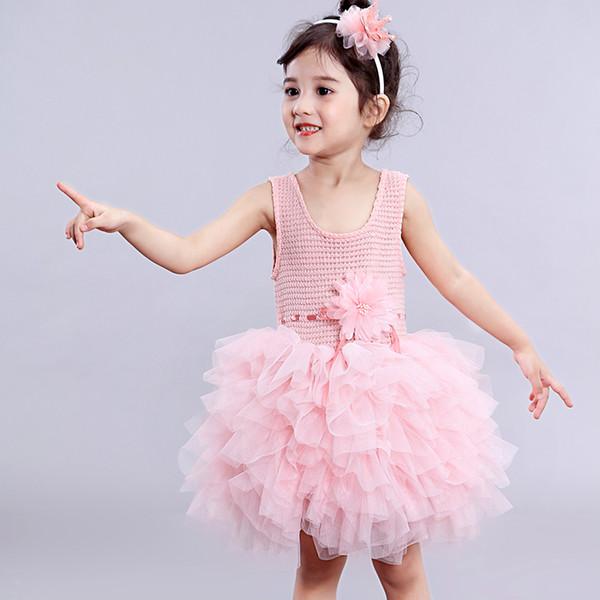 Las muchachas de flor del bebé del verano se visten con la princesa de punto tutu vestidos de fiesta ropa de niña para la boda de disfraces de cumpleaños