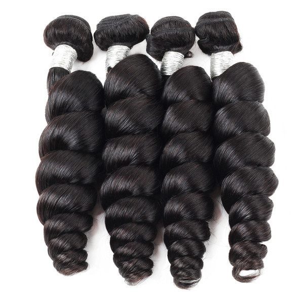 12A Gevşek Dalga Ham İnsan Saç Uzantıları 3/4 Paketler Doğal Renk Üst Sınıf Kalite Brezilyalı Perulu Malezya Hint Saç demetleri