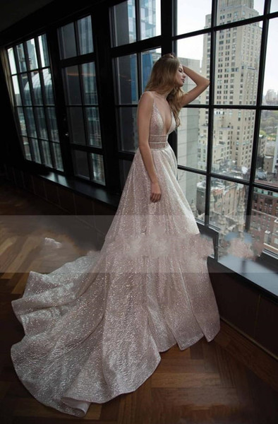 2019 Neue Glamorous Berta Brautkleid Sexy Tiefer V-Ausschnitt A-Linie Backless Shiny Glitters Fabic Neuesten Brautkleider Nach Maß